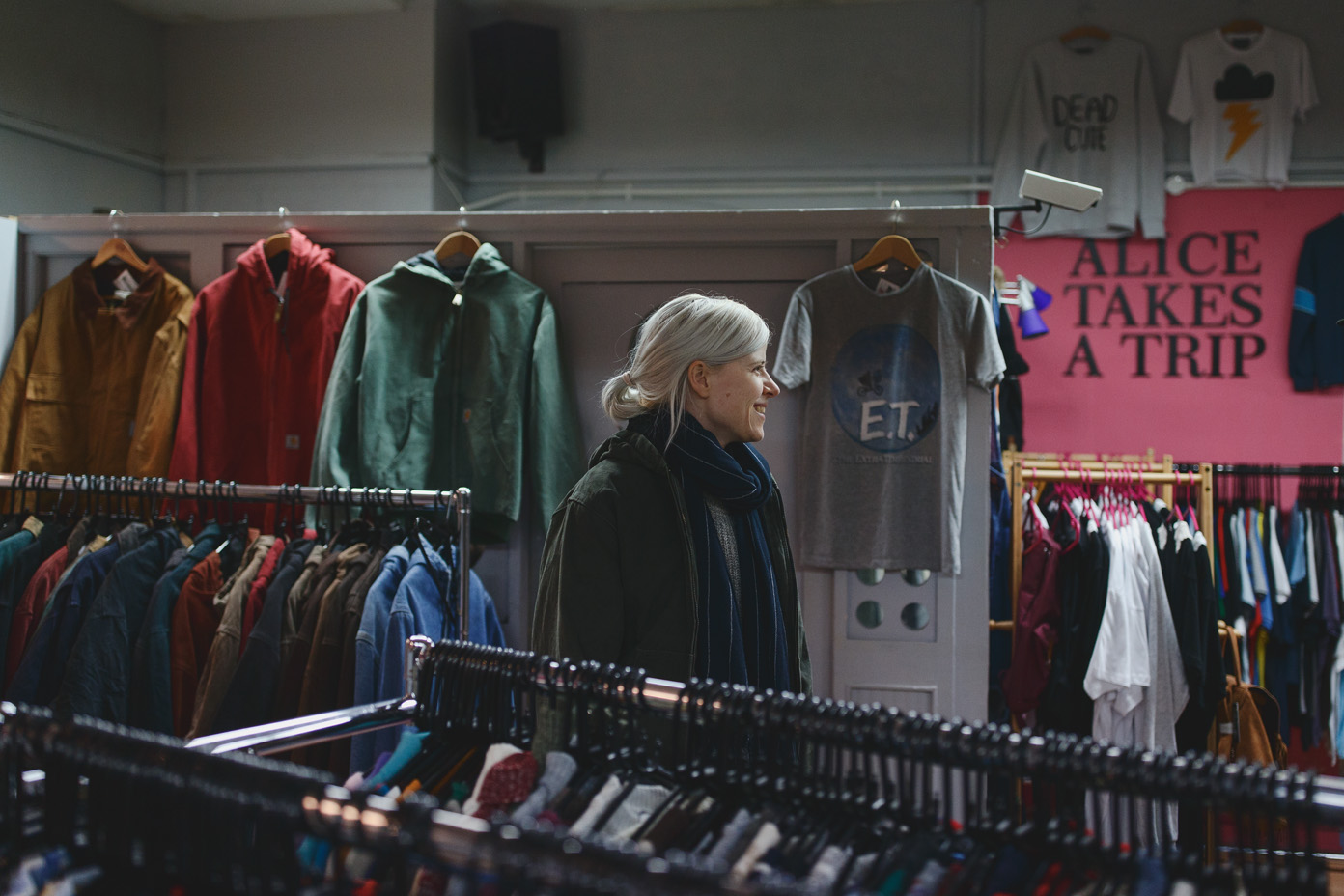 Amber Arcades in a clothing store in Sheffield, by Katy Blackwood