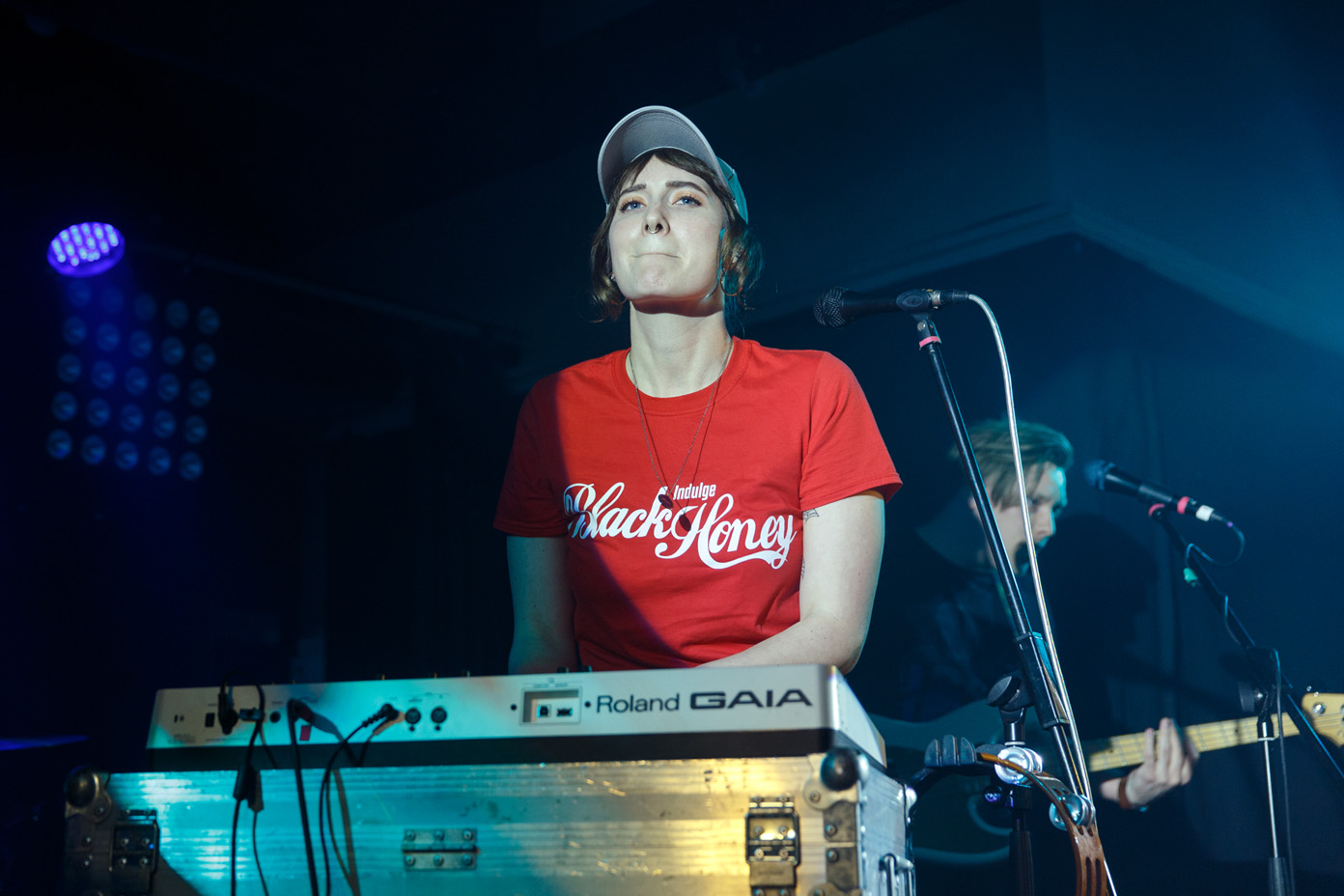 Natassja Shiner of Fickle Friends on stage at 2Q Festival 2017, wearing the merchandise of fellow Brighton band Black Honey. Photo: Katy Blackwood