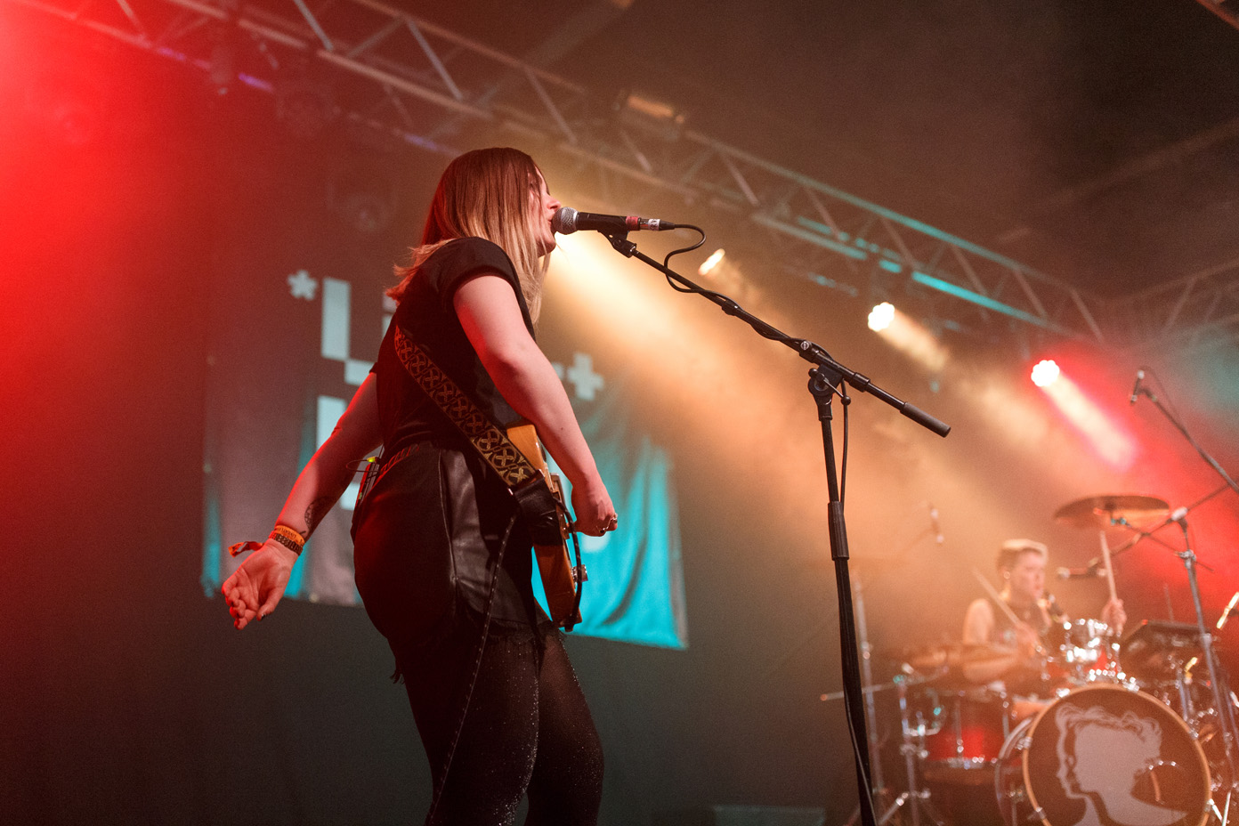 Honeyblood live on stage at Leeds University during Live at Leeds on 29 April 2017. Photo: Katy Blackwood