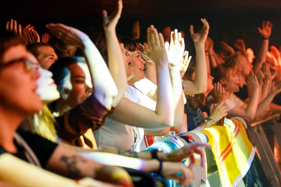 Front row fans during The Maccabees' farewell tour performance on 27 Jun 2017. Photo: Katy Blackwood