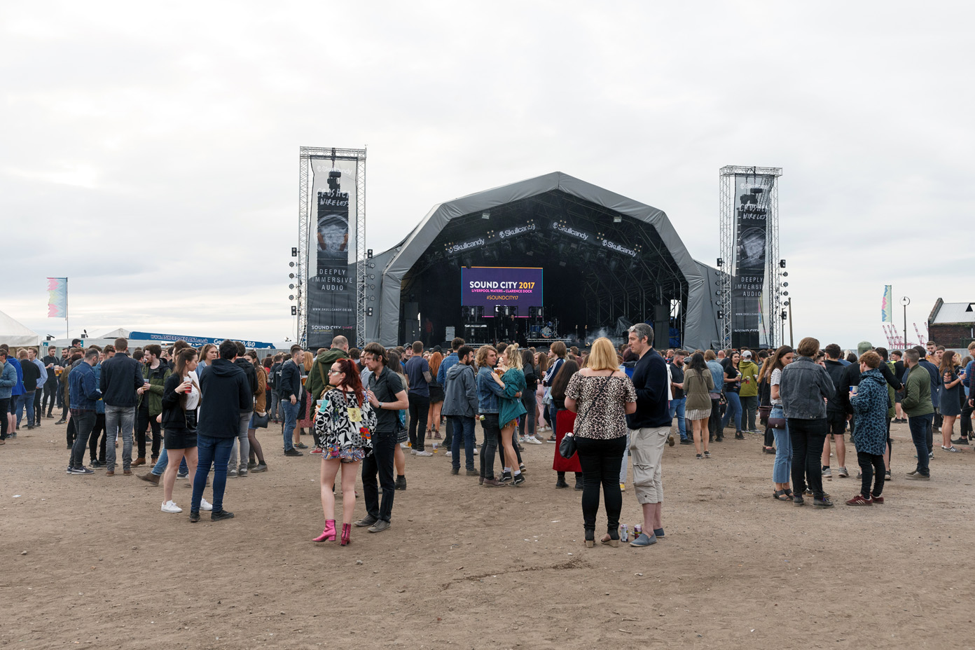 Music fans await the set by White Lies at the main stage of Liverpool Sound City 2017. Photo: Katy Blackwood